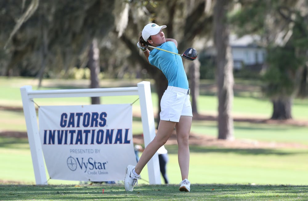 Sophomore Marina Escobar hits a drive at the Gators Invitational in February. The Gators are set to compete at the NCAA Regionals in Stanford, California, this week.