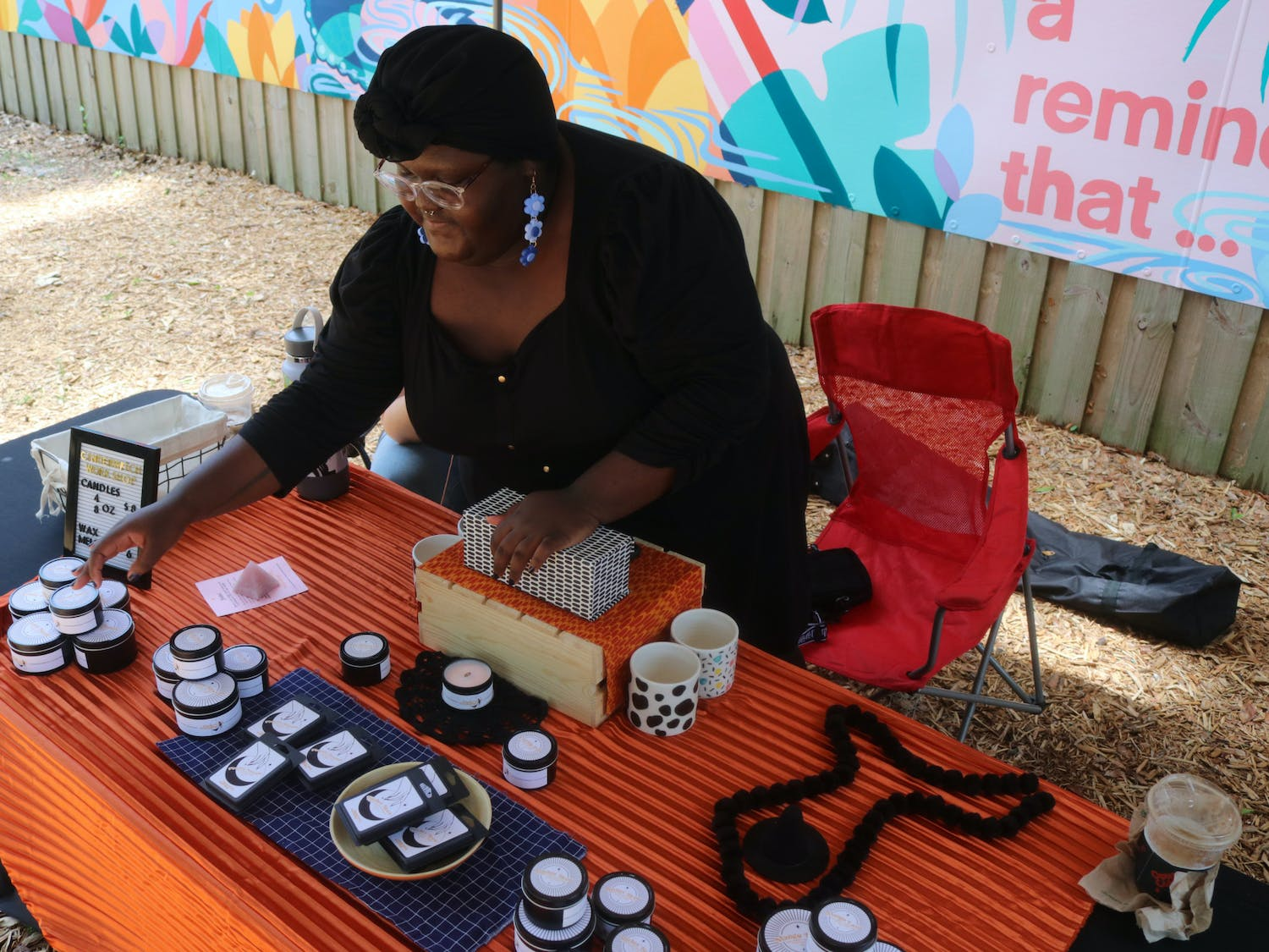 Salem Commander brought her homemade candles to 4th Ave Foodpark's Juneteenth celebration on June 19, 2021. Commander makes the candles herself and sells them at local markets.