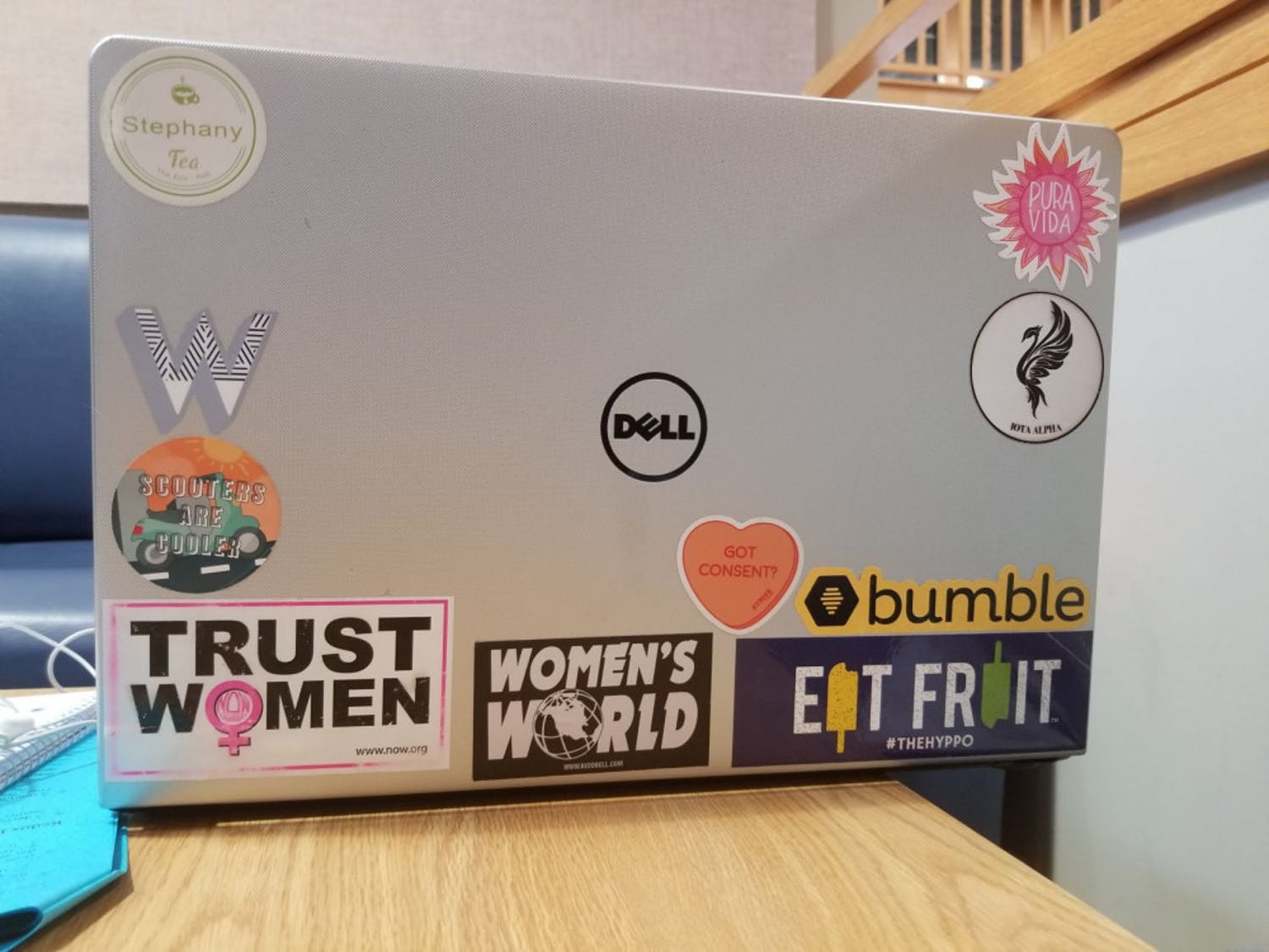"Stephany Fuentes is a 20-year-old UF biology junior and a proud feminist. How the 20-year-old decorates her laptop reflects her beliefs too. She has stickers like ""Women's World"" and ""Trust Women"" because she wants to spark conversation and educate people on feminism. She also promotes the dating app Bumble because she believes it empowers women by allowing them to choose whether or not they want to talk to the person they match with."