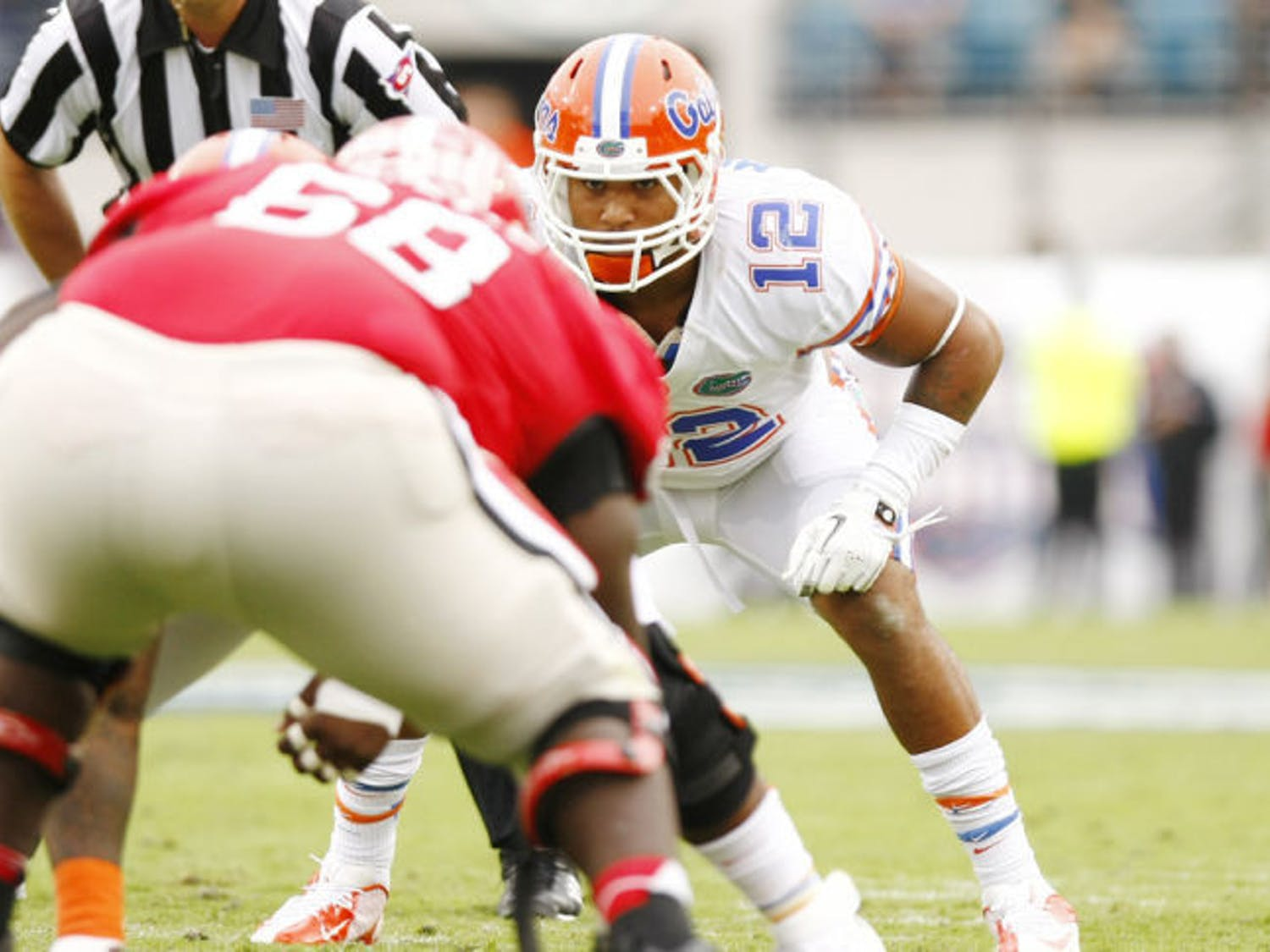 Linebacker Antonio Morrison (12) squats at the line of scrimmage during Florida's 17-9 loss to Georgia on Oct. 27 at Everbank Field in Jacksonville.