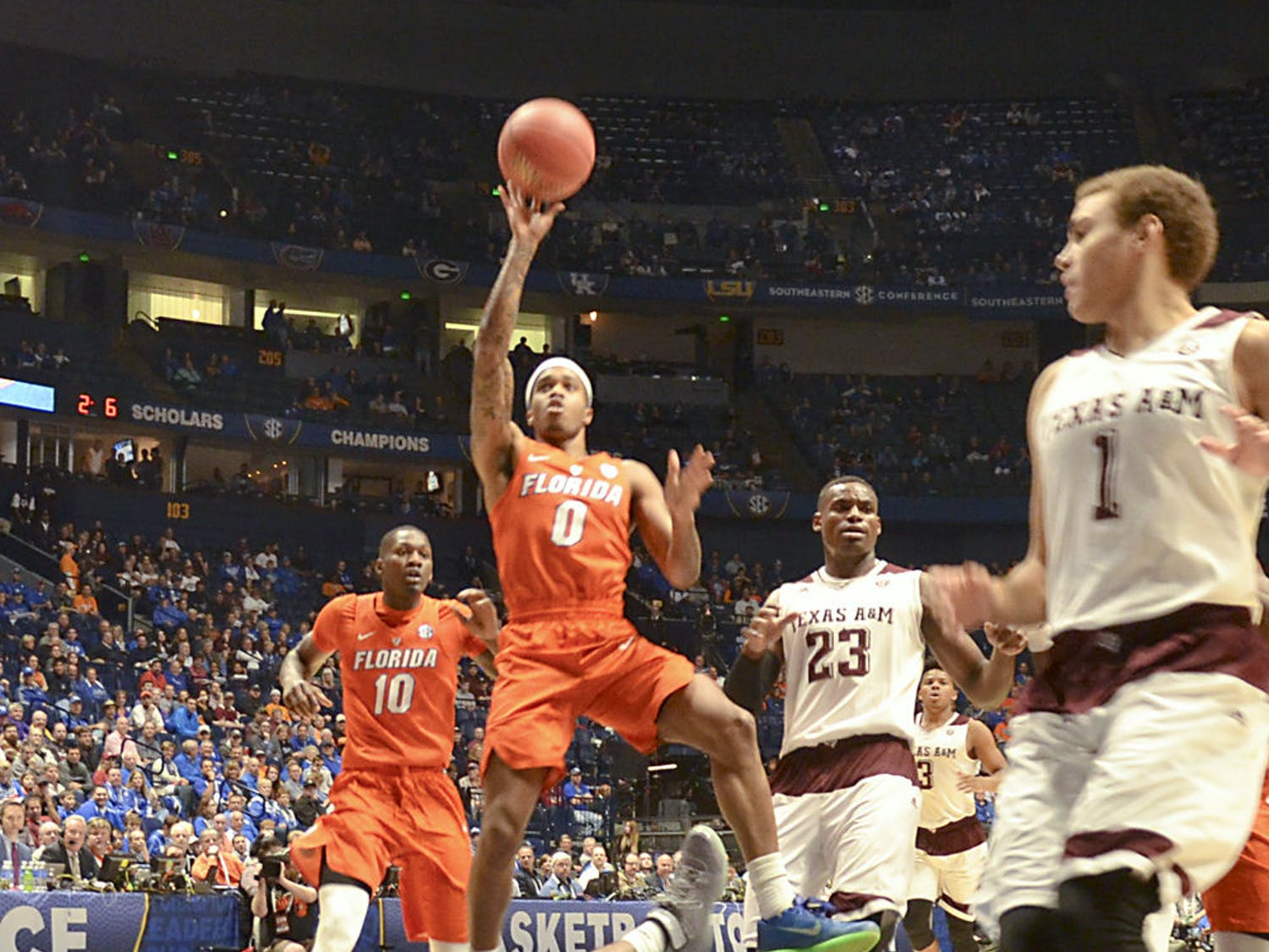 Kasey Hill attempts a floater during Florida's 72-66 loss to Texas A&M in the SEC Tournament in Nashville on March 11, 2016.