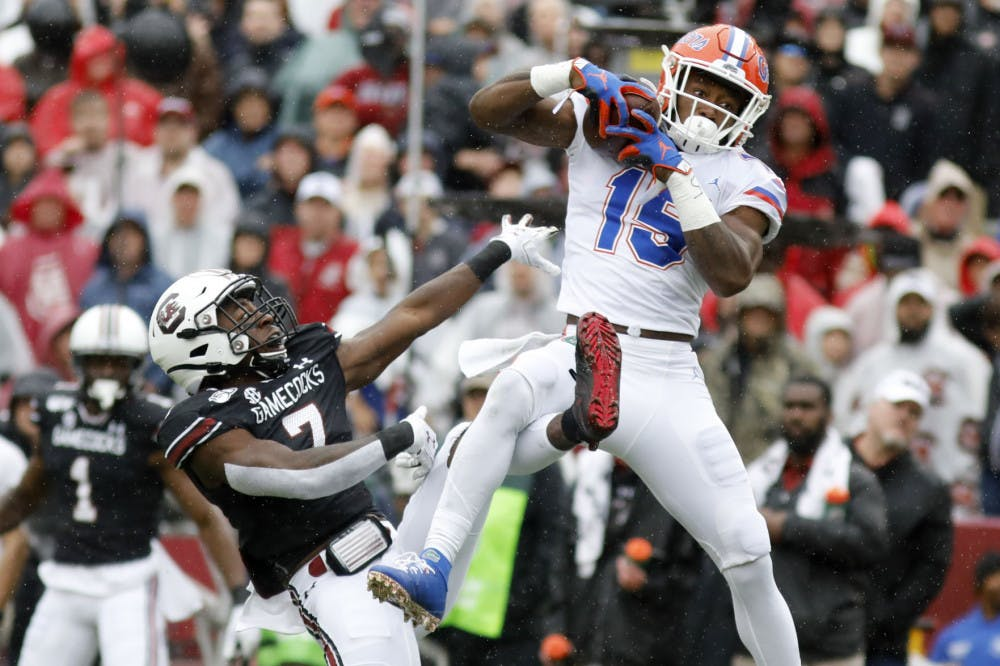 Jacob Copeland catches a touchdown against South Carolina in 2019. Copeland unveiled his personal logo Wednesday on the heels of the NIL bill going into effect Thursday.
