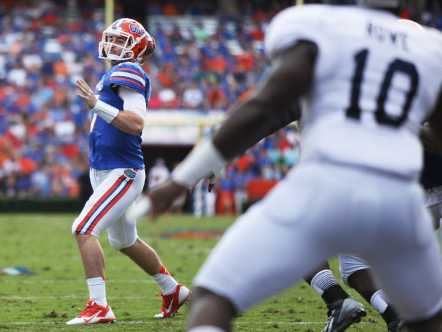 Skyler Mornhinweg (17) attempts a pass during Florida's 26-20 loss to Georgia Southern on Saturday in Ben Hill Griffin Stadium. Mornhinweg finished the game 14 of 25 passing for 122 yards and two touchdowns.
