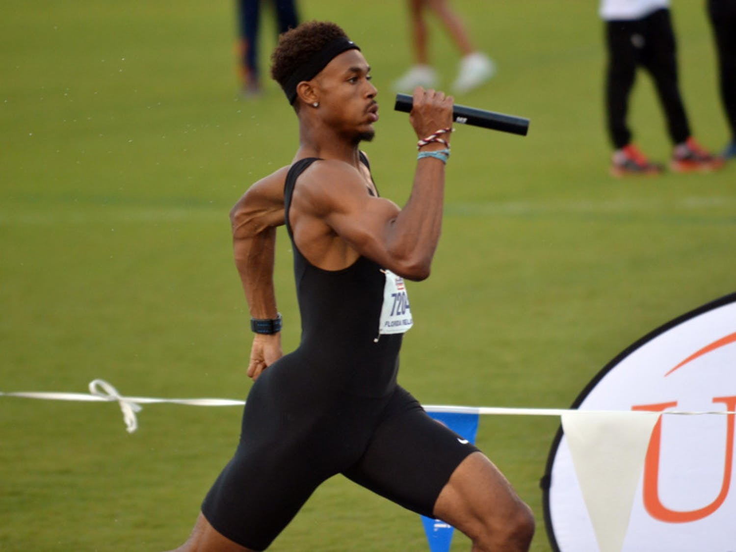 Najee Glass races in the 4x400-meter dash to close out the 2015 Florida Relays on April 4 at the Percy Beard Track.