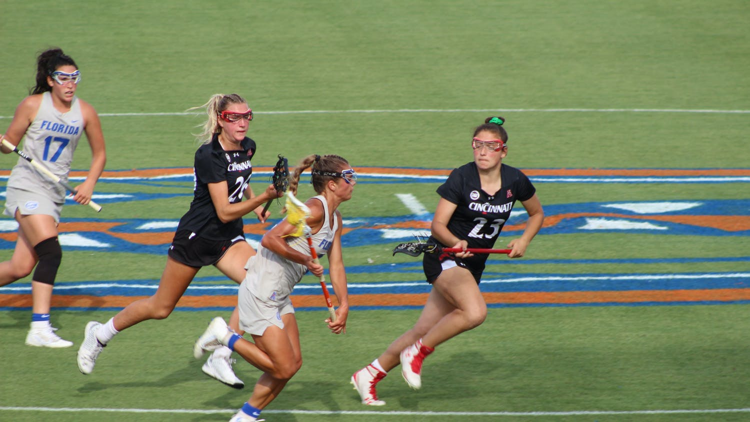 Emily Heller races down the field for Florida against Cincinnati on May 6.