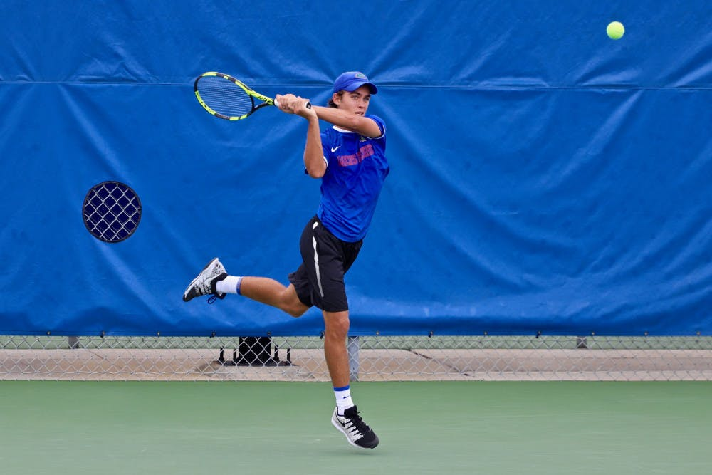 """<p>Sophomore Blaise Bicknell won a singles match against Georgia on Friday at the<span id=""""docs-internal-guid-42ad71a5-7fff-5b56-22a3-7f03cab75b26""""><span>Southern Intercollegiate Championships.</span></span></p>"""