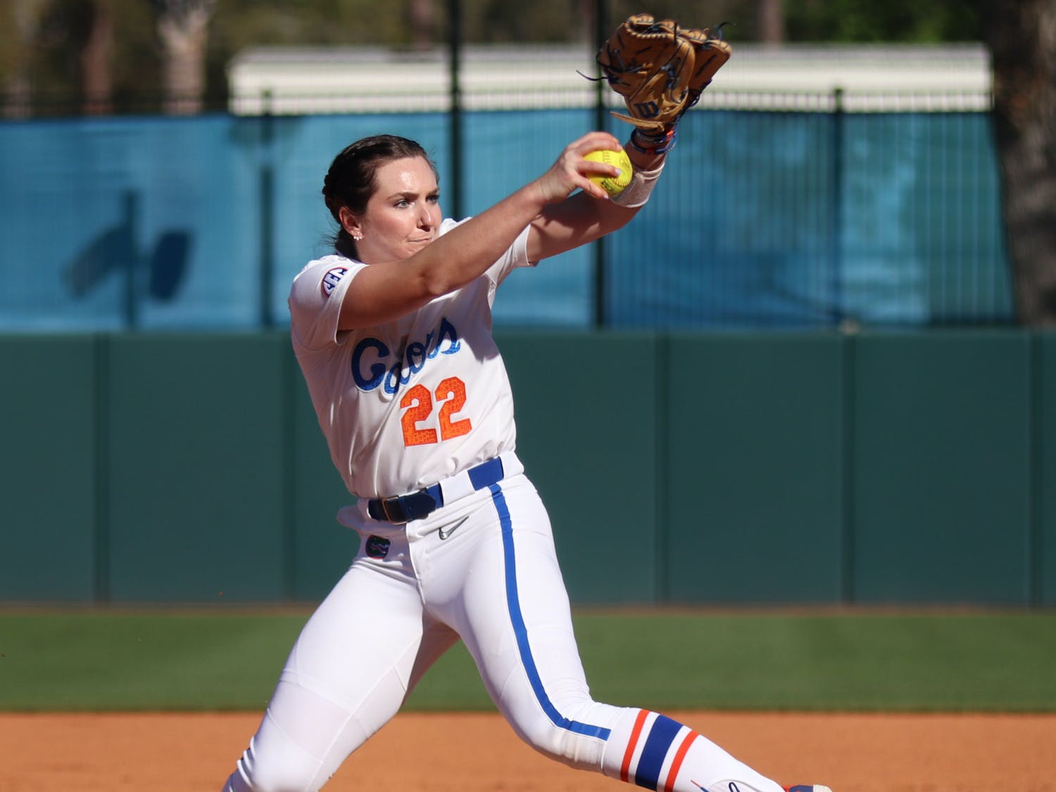 Florida pitcher Elizabeth Hightower winds up for a pitch versus FSU. The Gators released its SEC schedule for 2022 on Thursday.