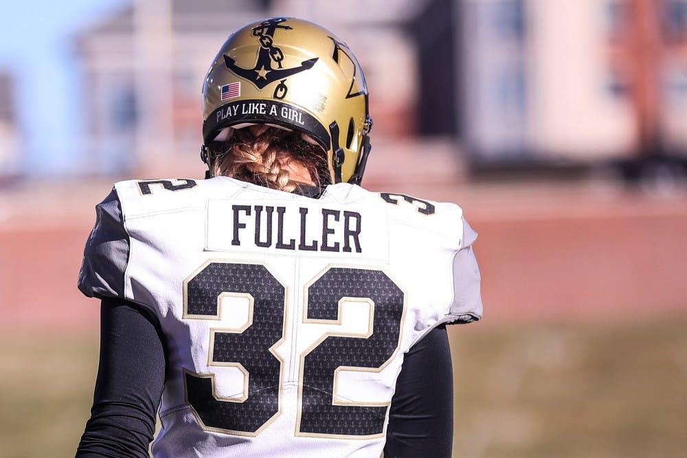 <p>Vanderbilt kicker Sarah Fuller (32) at the Commodores' game against the Missouri Tigers at Memorial Stadium in Columbia, Missouri, on Saturday, Nov. 28, 2020.</p>