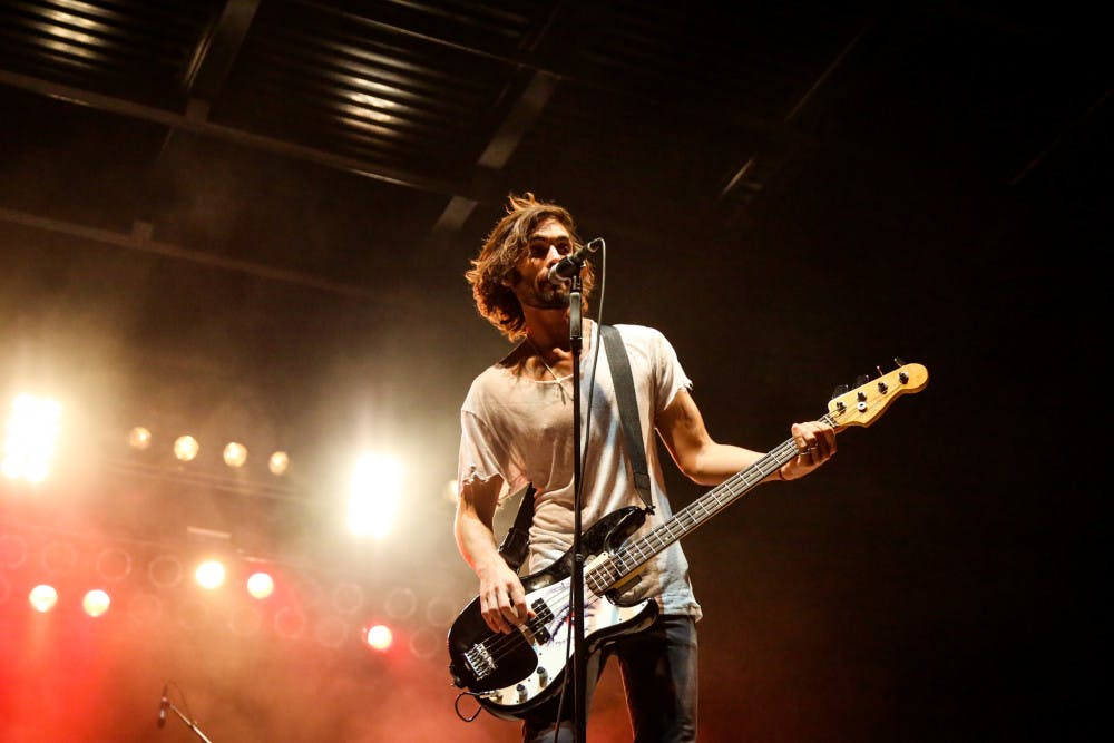 """<p><span id=""""docs-internal-guid-ed0bb73b-3d08-74bc-cb5f-52f99b7608d1""""><span>Tyson Ritter, the lead singer of The All-American Rejects, performs during the free """"Rock the Vote"""" concert on Friday evening on Flavet Field.</span></span></p>"""