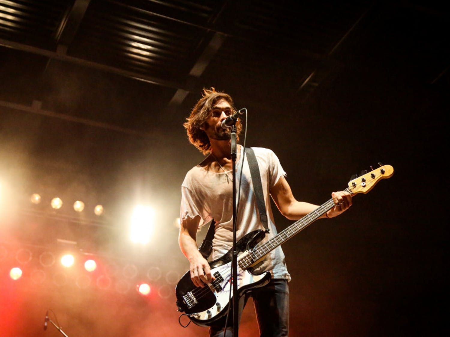 """Tyson Ritter, the lead singer of The All-American Rejects, performs during the free """"Rock the Vote"""" concert on Friday evening on Flavet Field."""