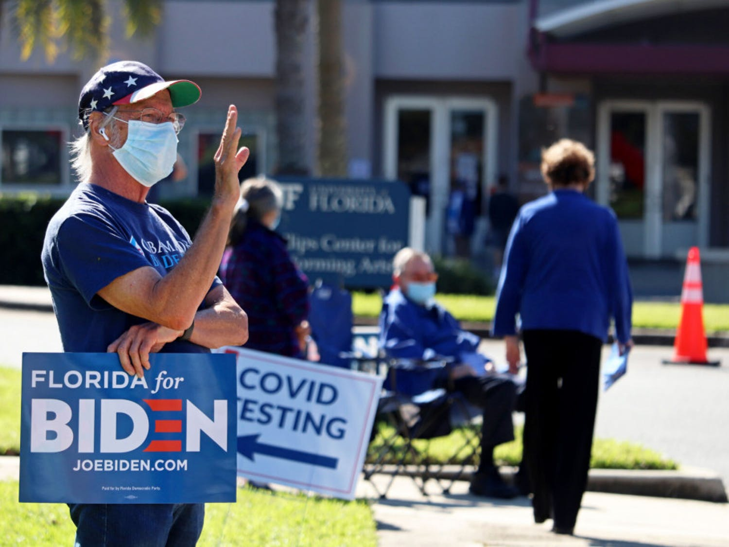 The Phillips Center for the Performing Arts had Election Day voting and drive-thru COVID testing on Tuesday, Nov. 3, 2020 in Gainesville, Fla.