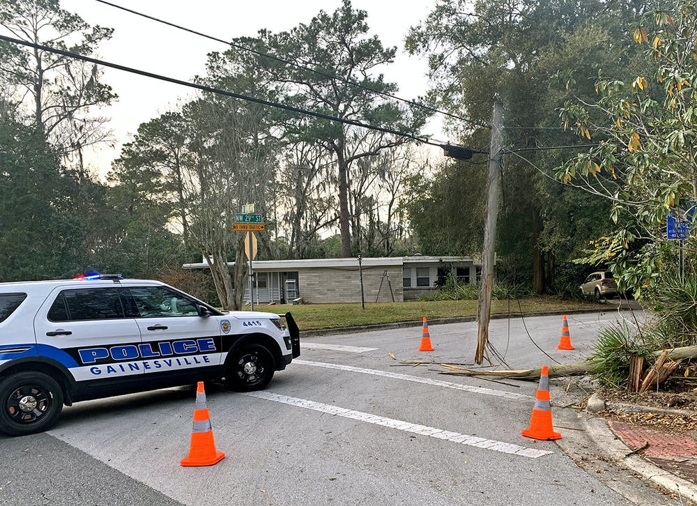 <p>An electrical pole was damaged after a car crash on the corner ofNorthwest 29th Streetand University Avenue onMonday, Jan. 25, 2021. This crash occurred nine days after the car crash on West University Avenue that killed UF student Sophia Lambert and left five others hospitalized.<br/></p>