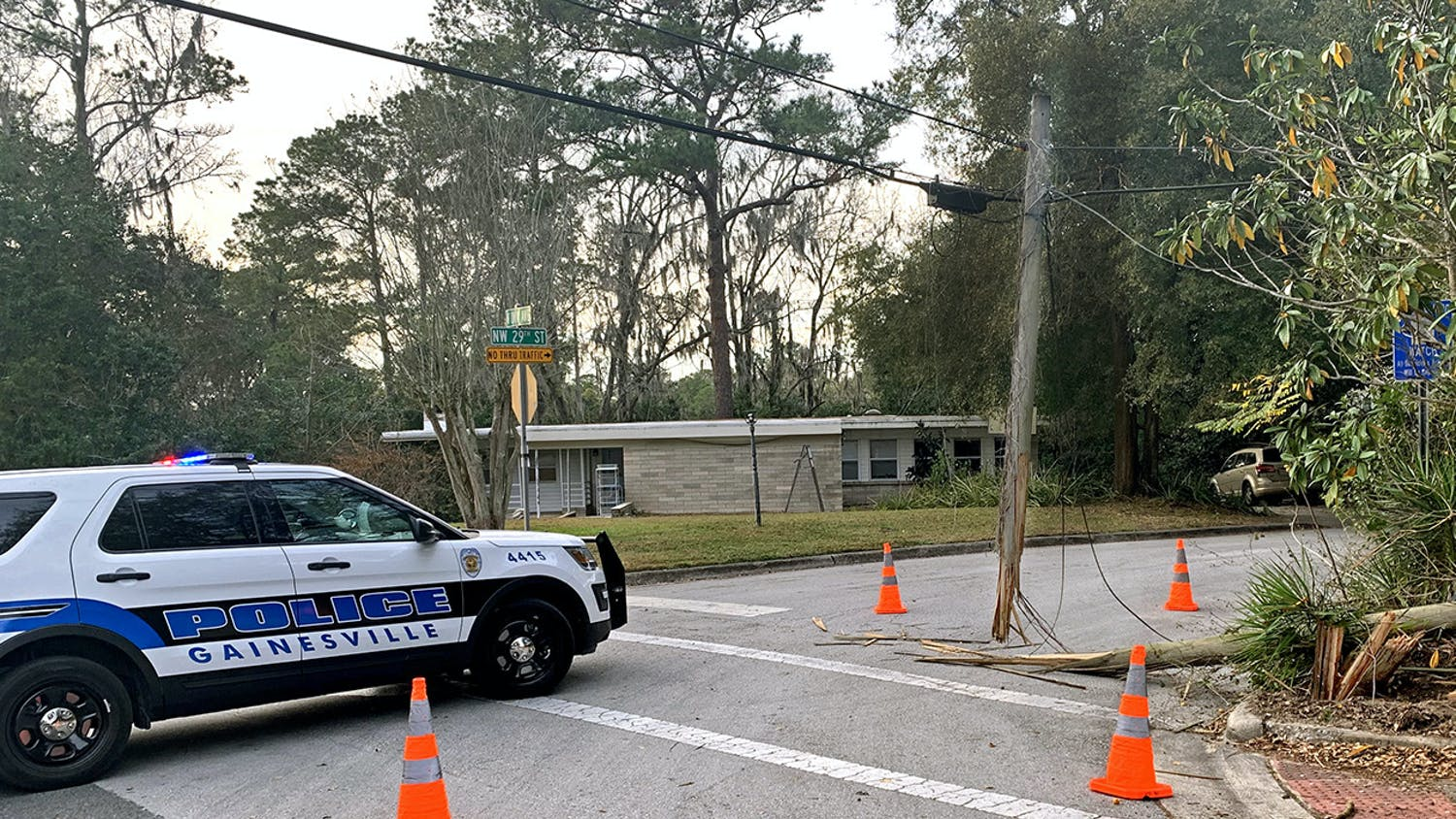 An electrical pole was damaged after a car crash on the corner of Northwest 29th Street and University Avenue on Monday, Jan. 25, 2021. This crash occurred nine days after the car crash on West University Avenue that killed UF student Sophia Lambert and left five others hospitalized.
