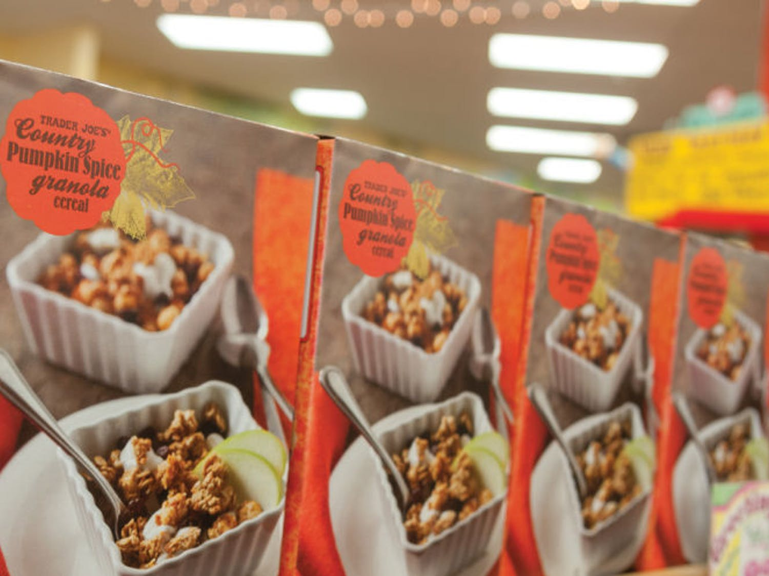 Pumpkin spice flavored groceries sit on the shelves of Trader Joe's in Butler Plaza on Monday. The store has embraced the season and is currently selling many pumpkin-flavored ingredients and food products.