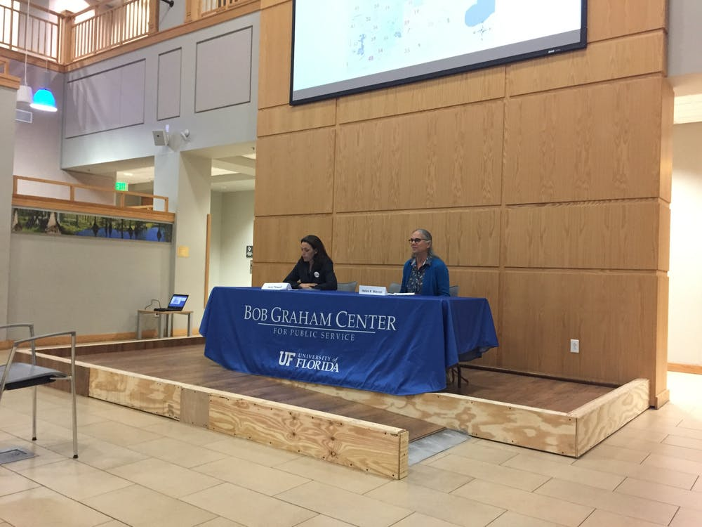 <p>District 2 City Commission candidates Sheryl Eddie and Harvey Ward Jr. answered questions prepared by UF students in Pugh Hall at a forum on Wednesday evening.</p>