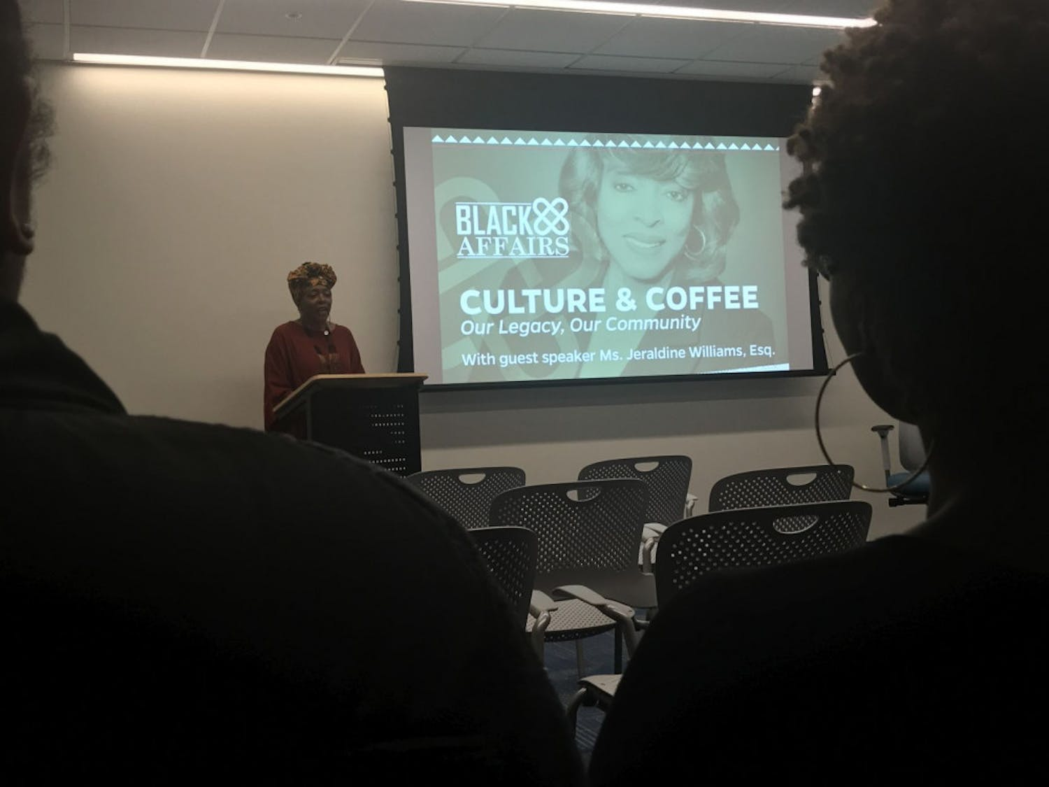 """""""Our whole mission was to come and open the doors for you,"""" Jeraldine Williams said at Black Affairs' Culture & Coffee event. Williams was one of 14 of the first African American students at UF."""