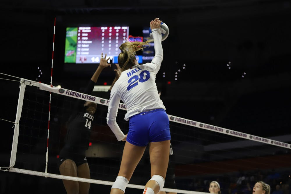Florida's Thayer Hall (pictured) and the Gators fell to Florida State Wednesday night for a third consecutive loss