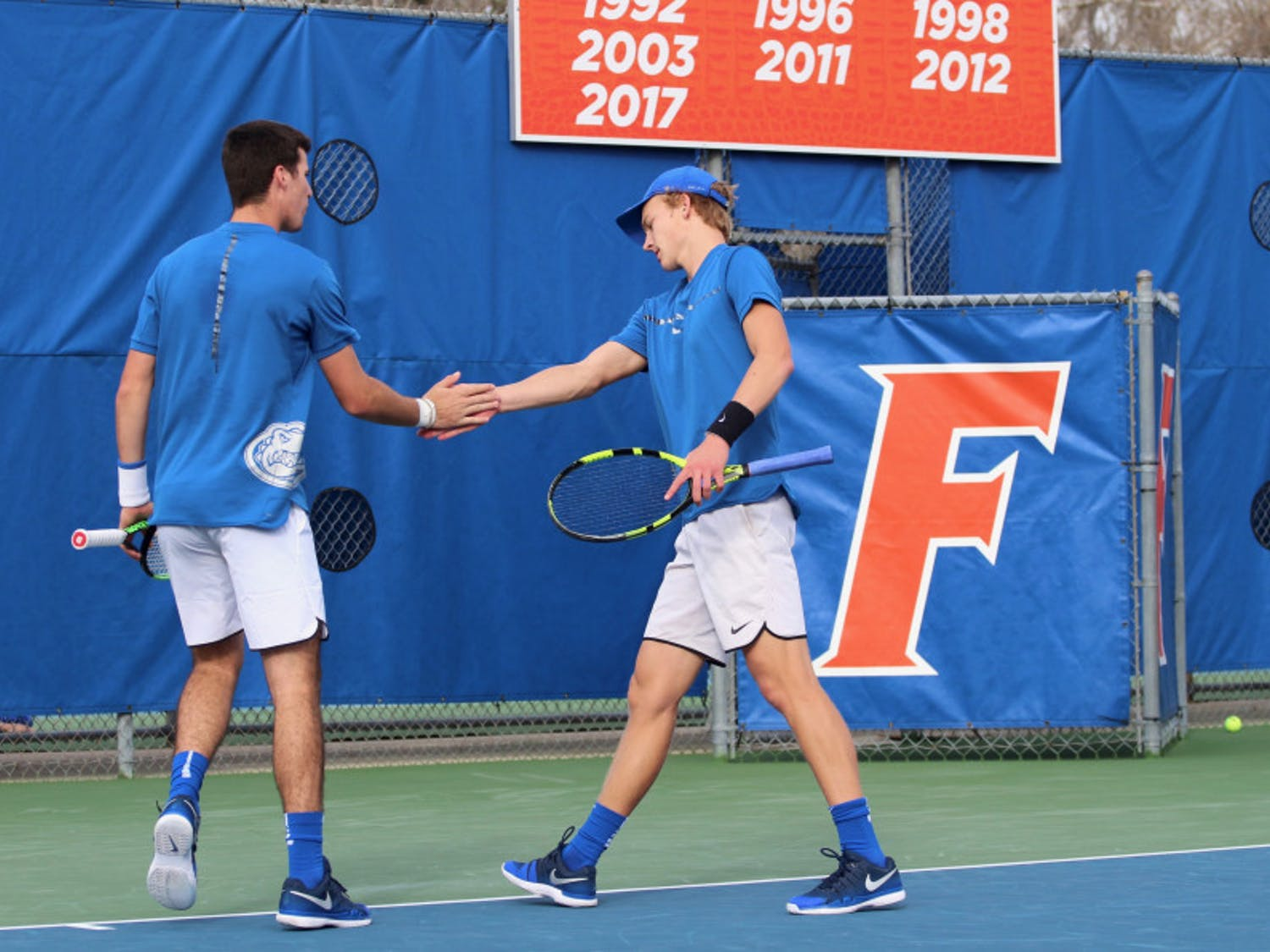 Junior Alfredo Perez (left) and sophomore Johannes Ingildsen (right) are onto the quarterfinals of the NCAA Doubles Championships along with fellow Gators pairing of junior McClain Kessler and freshman Duarte Vale.