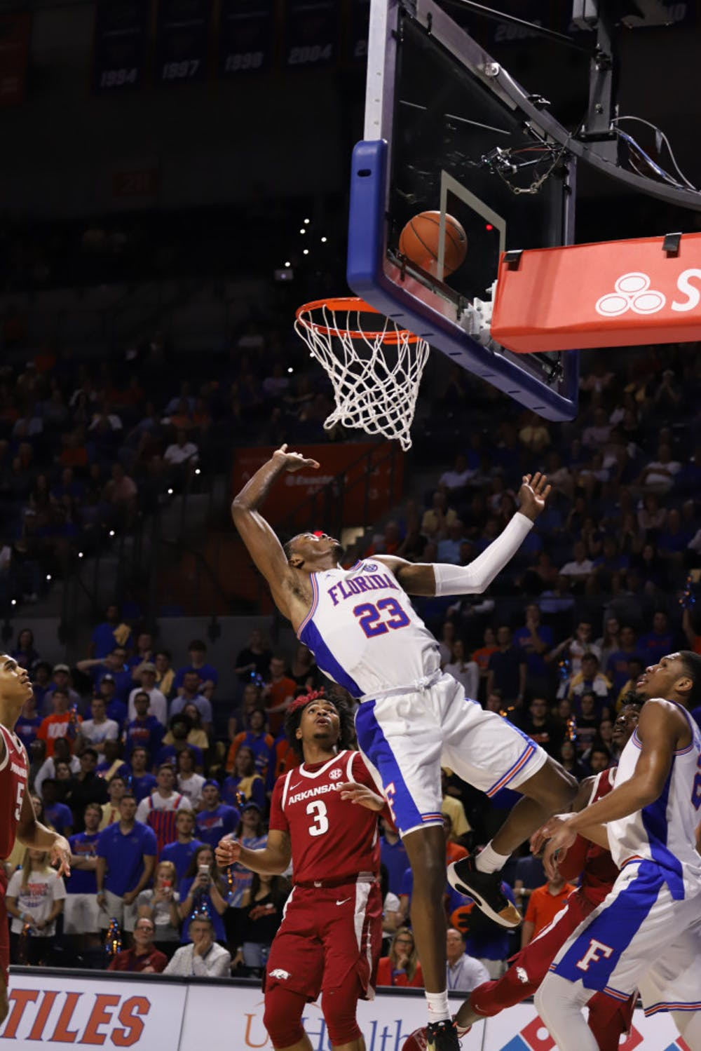 <p>Sophomore guard Scottie Lewis at last year&#x27;s game against Arkansas. Lewis struggled with foul trouble Tuesday night, scoring just four points while forcing three steals</p>