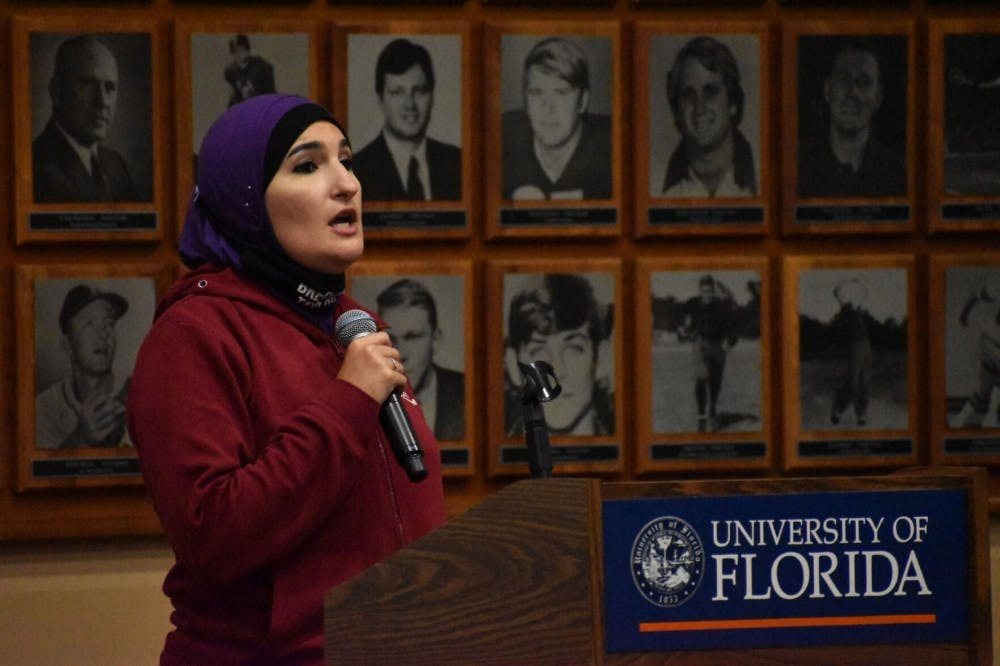 <p>Linda Sarsour, a political activist known for her role as co-chair of the 2017 Women's March, speaks to UF students Tuesday night, Oct. 27, 2020, about the intersection between resistance and Islam at the Touchdown Terrace.&nbsp;</p>