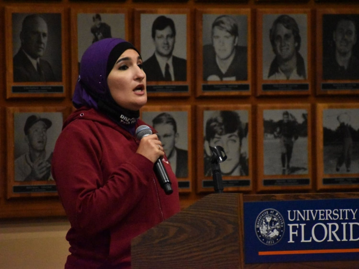 Linda Sarsour, a political activist known for her role as co-chair of the 2017 Women's March, speaks to UF students Tuesday night, Oct. 27, 2020, about the intersection between resistance and Islam at the Touchdown Terrace.
