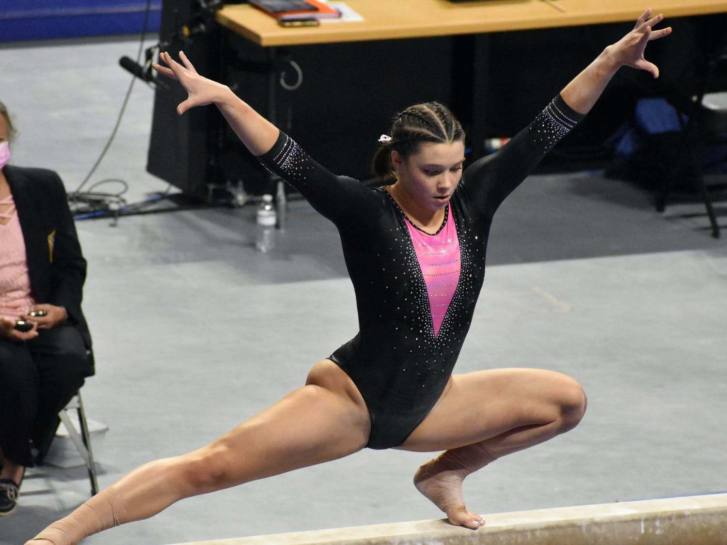 Megan Skaggs performs on the beam in a meet against Kentucky on February 19. The senior announced she would return for a fifth year via Twitter on April 23.