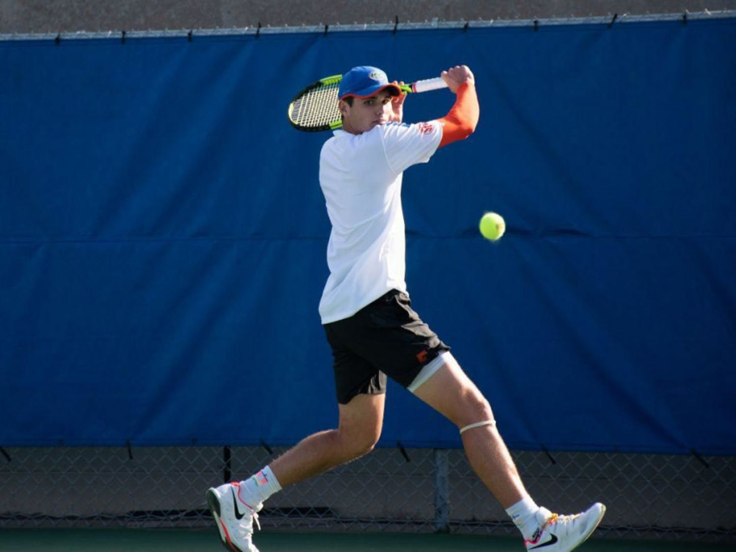 Sam Riffice (pictured) and Duarte Vale dominated doubles play in a 7-0 victory for the men's tennis team.