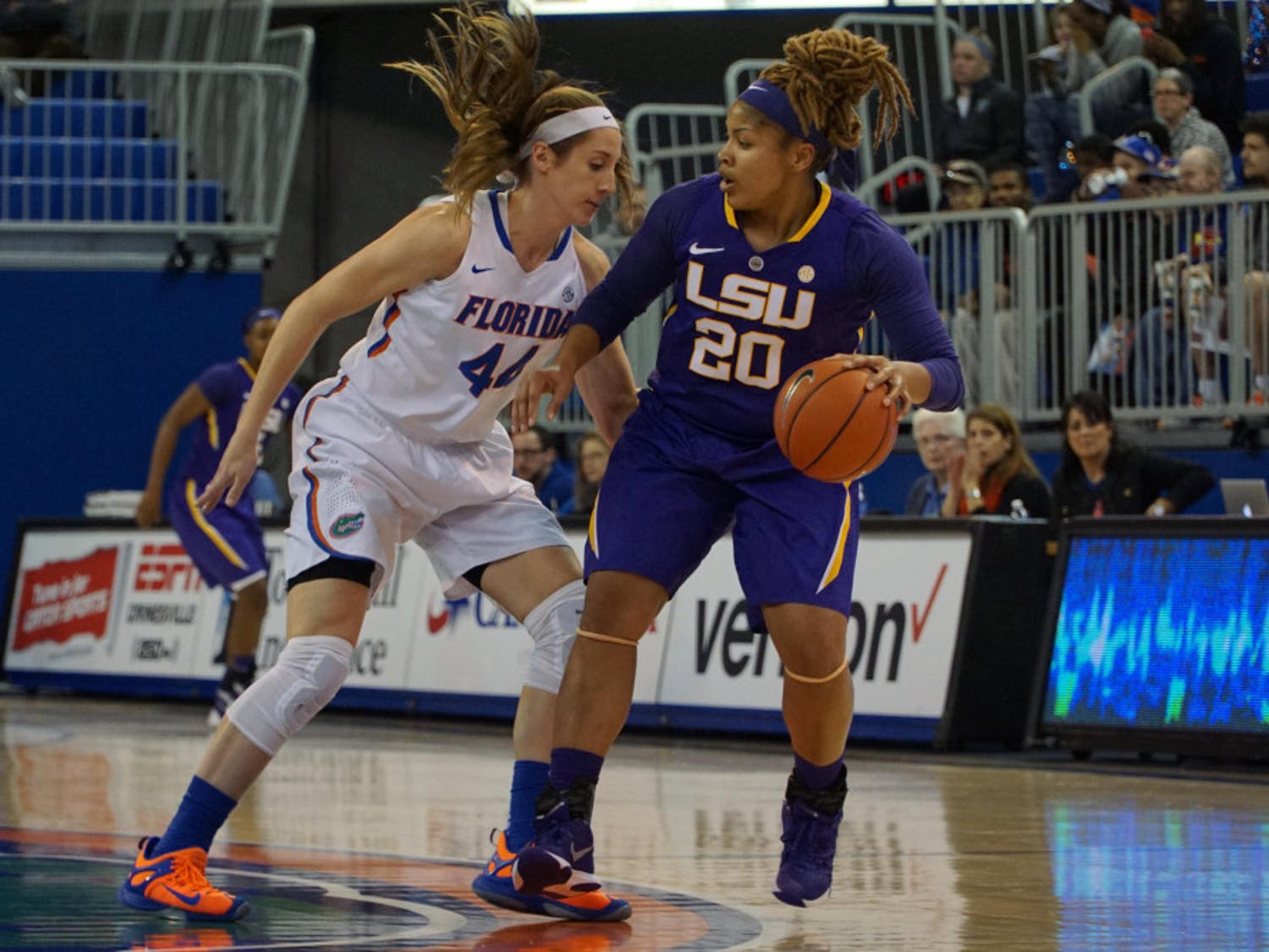 UF forward Haley Lorenzen guards LSU's Alexis Hyderduring Florida's 53-45 win against LSU on Jan. 17, 2016, in the O'Connell Center.
