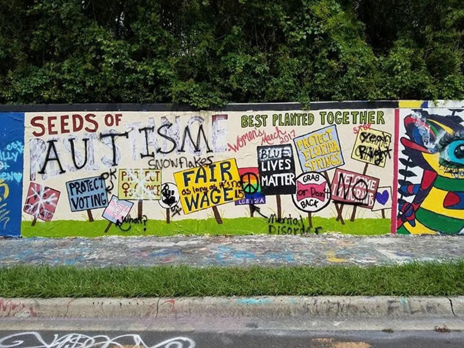 Pamela Smith, a volunteer with Women's March Gainesville, said that on Sunday afternoon, the group received an inquiry explaining that someone driving down 34th street had seen a single man defacing the mural.