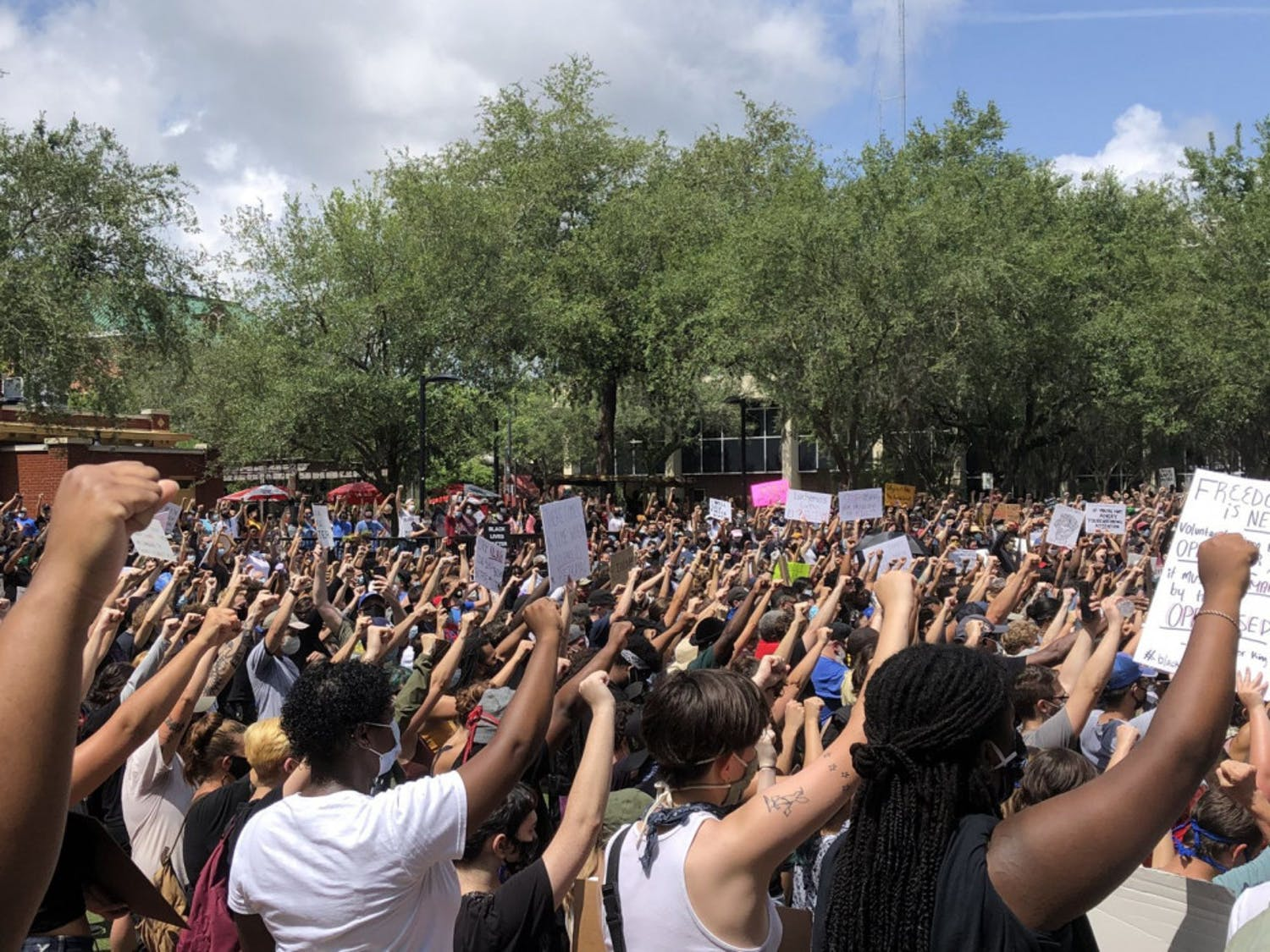 A moment of silence among the hundreds of protestors washes over Bo Diddly plaza, each of the participants holding fists in the air as a message of solidarity.