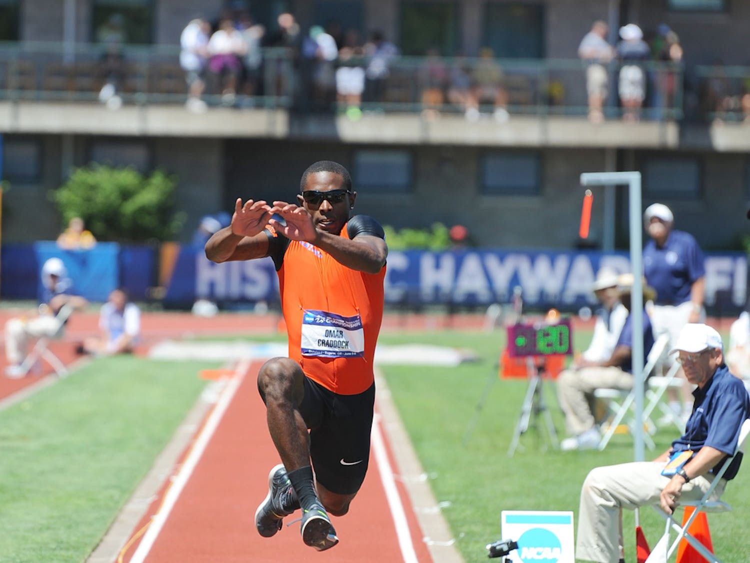 Omar Craddock competes in the triple jump on the final day of the 2013 NCAA Outdoor Track and Field Championships in Eugene, Oregon.