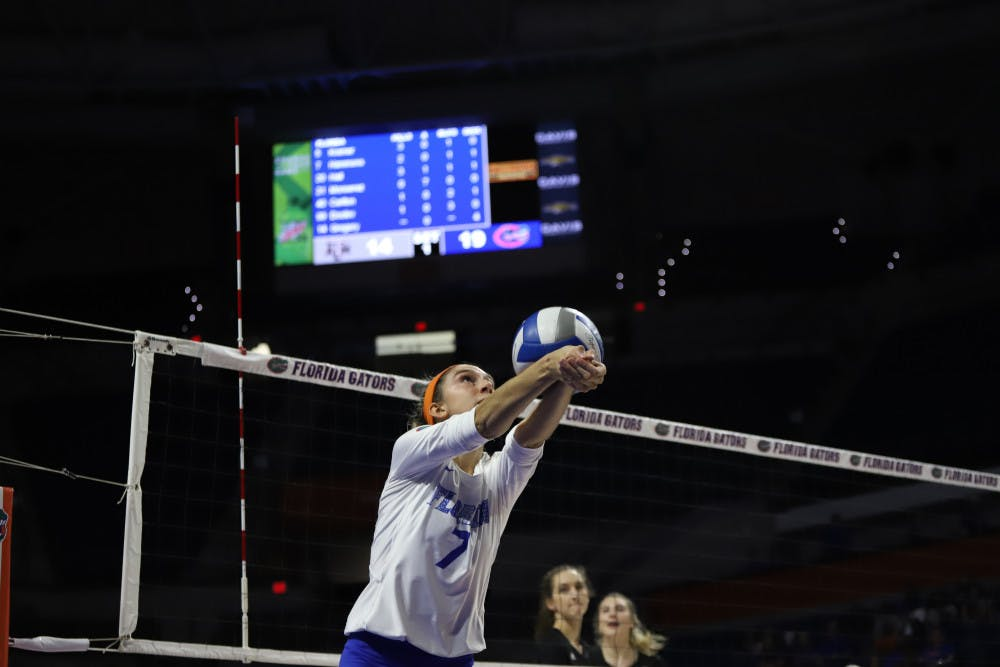 <p>Outside hitter Paige Hammons at the Gators' home game against Texas A&amp;M last season. In Florida's second game against Auburn Thursday, Hammons contributed six kills off the bench.</p>
