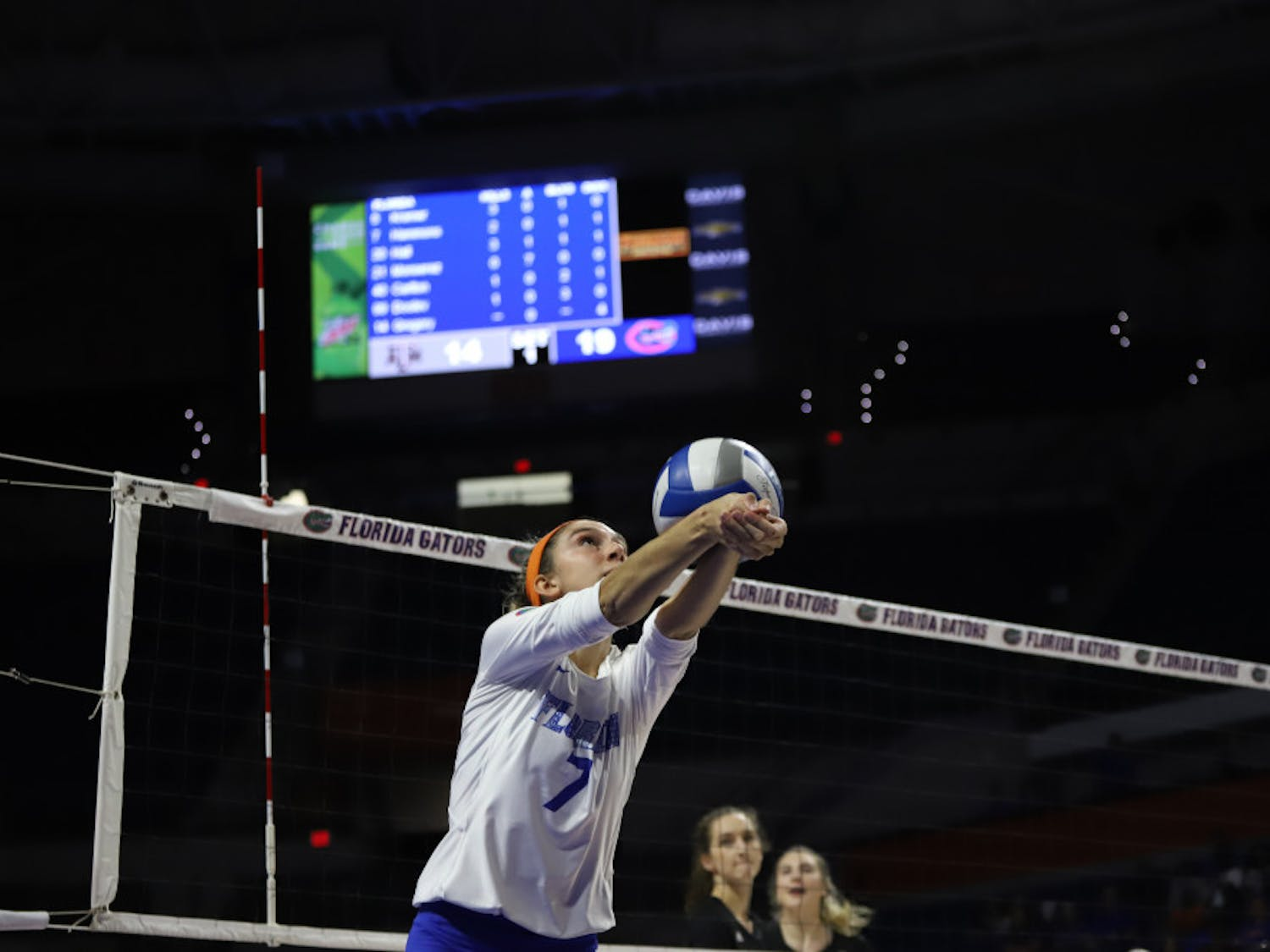 Outside hitter Paige Hammons at the Gators' home game against Texas A&M last season. In Florida's second game against Auburn Thursday, Hammons contributed six kills off the bench.