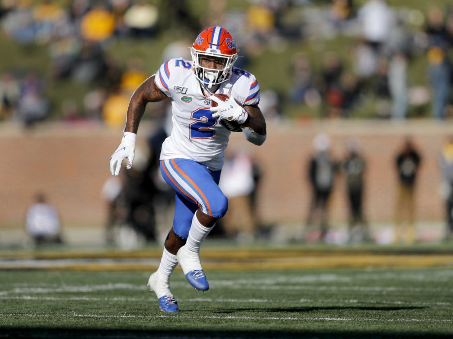 Florida running back Lamical Perine carries the ball for a first down during the second half of an NCAA college football game against Missouri, Saturday, Nov. 16, 2019, in Columbia, Mo. Florida won 23-6. (AP Photo/Jeff Roberson)