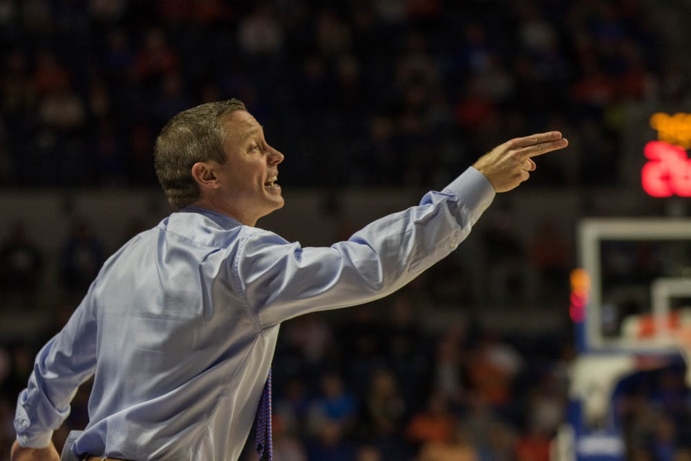 """<p dir=""""ltr""""><span>UF basketball coach Mike White is 89-53 in his four seasons with the Gators. His overall head coaching record is 190-93.</span></p><p><span></span></p>"""