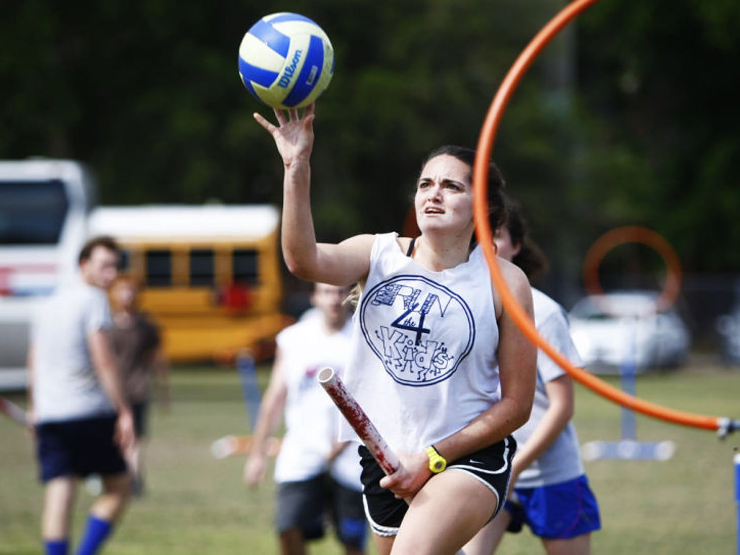 Margaret Egeln, a 19-year-old UF biology freshman, attempts a shot during the Florida Quidditch team practice Saturday on Flavet Field. The Florida Quidditch team will head to Kissimmee this weekend to participate in the sixth annual World Cup.