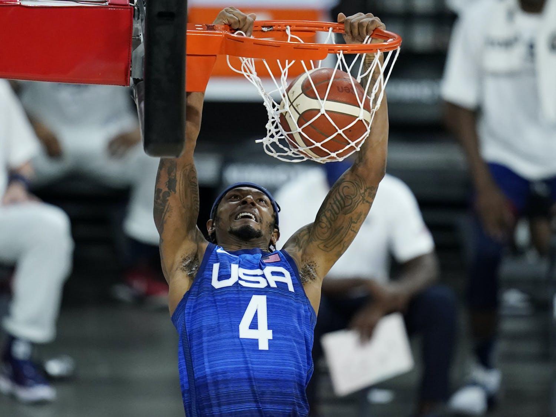 United States' Bradley Beal dunks against Australia during an exhibition basketball game Monday, July 12, 2021, in Las Vegas. (AP Photo/John Locher)