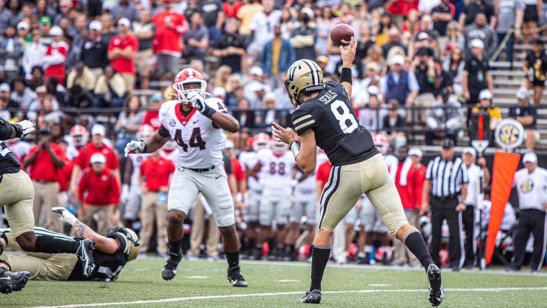 Vanderbilt quarterback Ken Seal attempts a pass against Georgia. Photo courtesy Hustler Multimedia/Mattigan Kelly