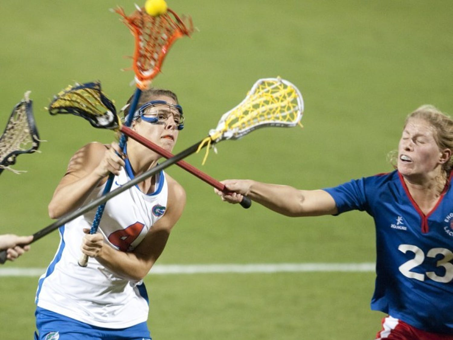 Florida junior attacker Kitty Cullen (left), who scored three goals in UF's season-opening loss to North Carolina on Saturday, said the Gators did not play with enough intensity throughout the game after opening up an early two-goal lead.