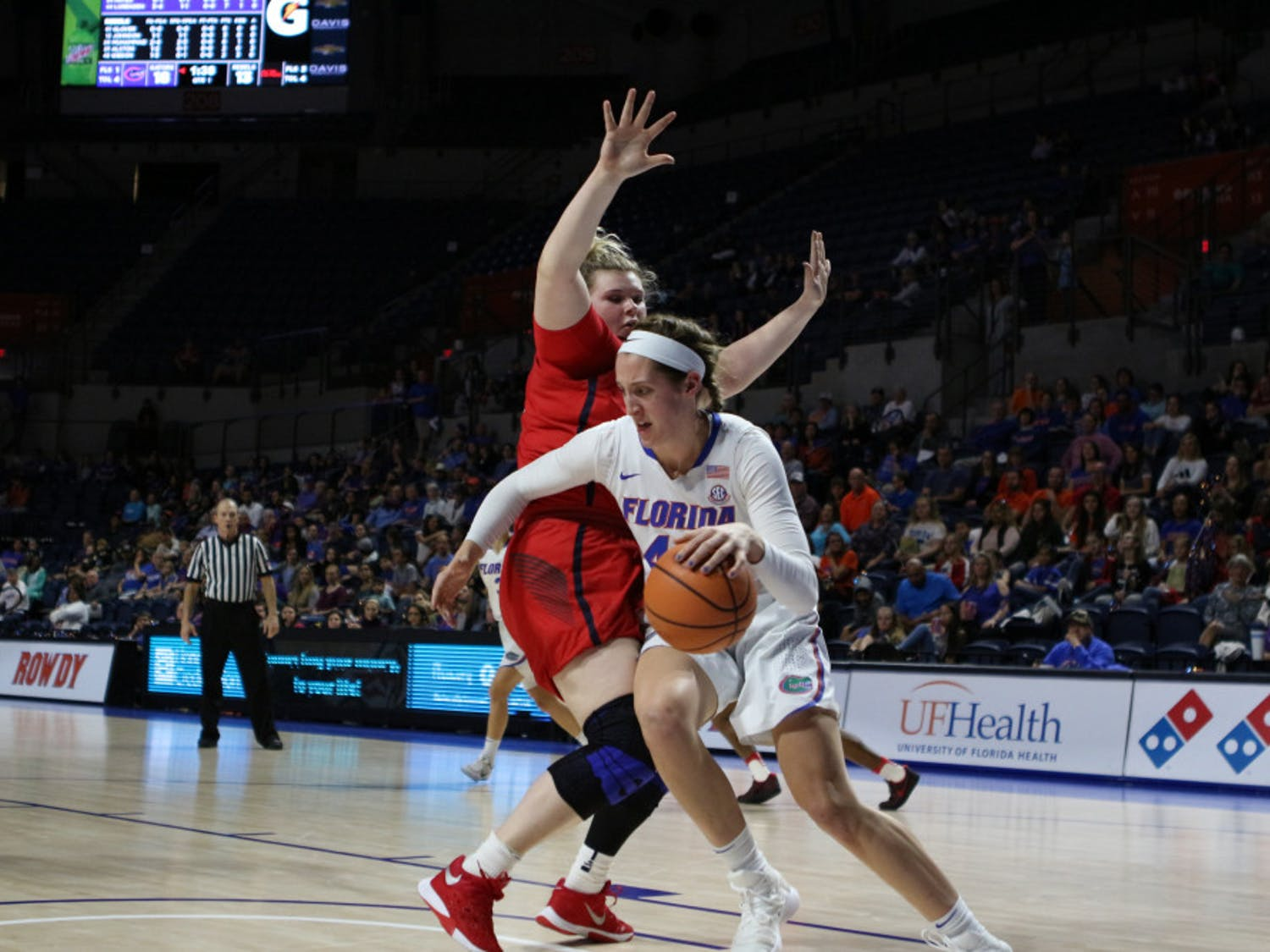 Haley Lorenzen had 7 points, 7 rebounds and 2 blocks in the fourth quarter of a 61-60 win against Ole Miss at the O'Connell Center on Sunday.