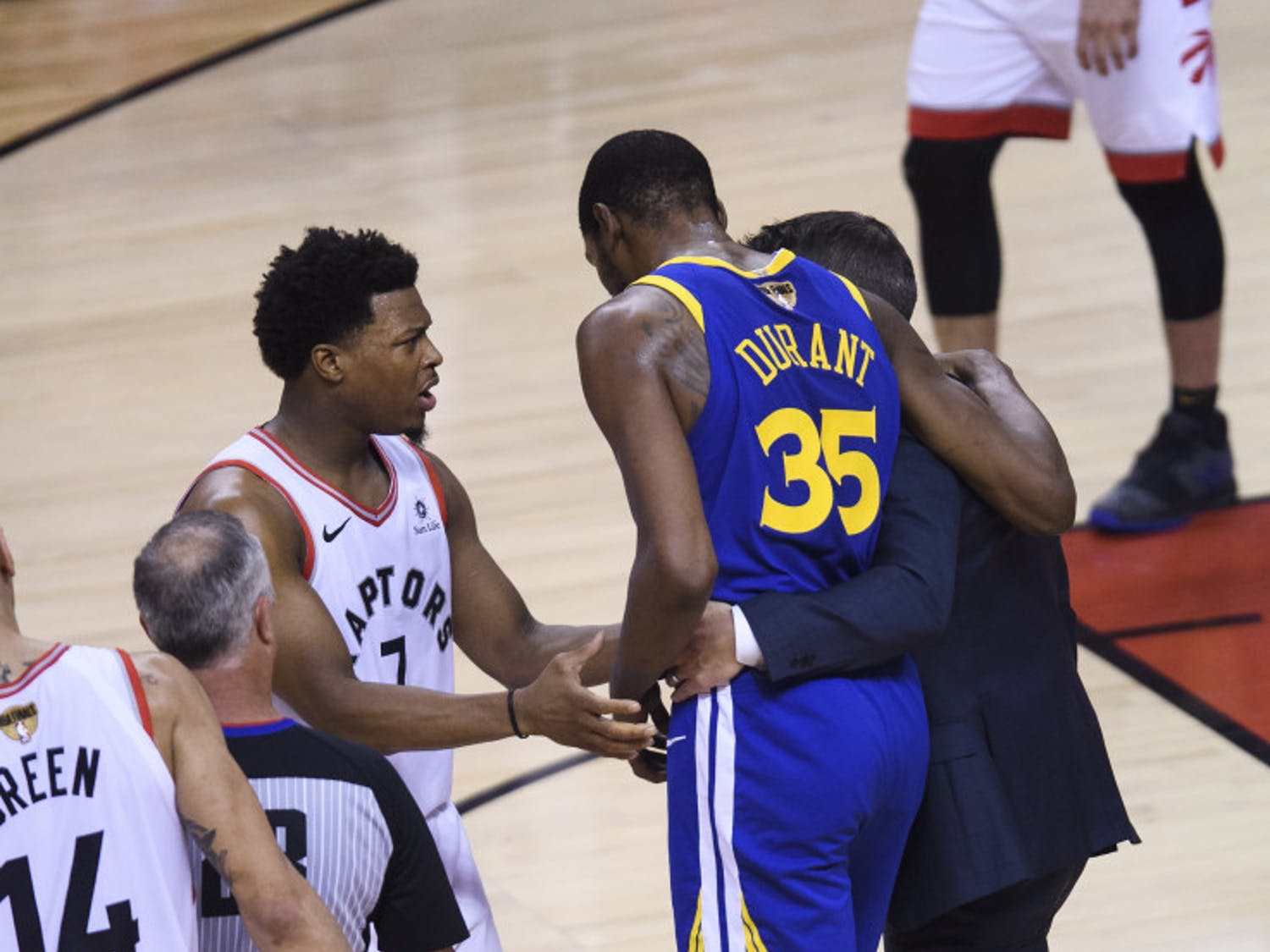 Warriors small forward Kevin Durant limps off the court after rupturing his Achilles in Game 5 of the NBA Finals on Monday night.