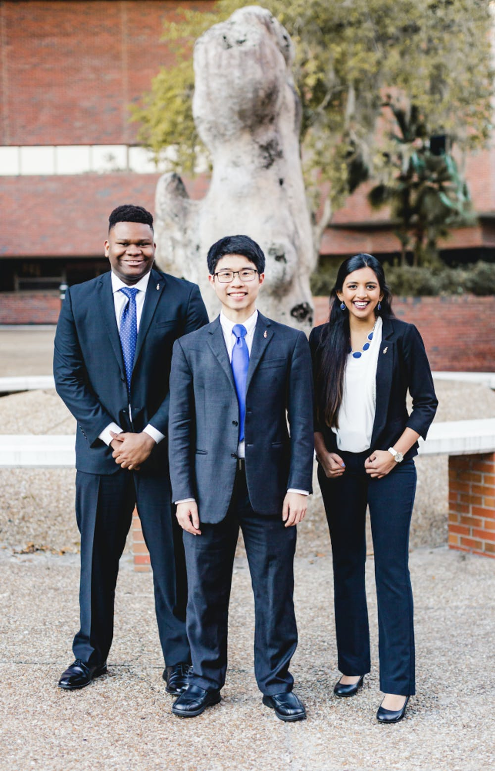 <p>The UF Inspire Party announced its executive ticket with Zachariah Chou, 21, for Student Body president (center); Gouthami Gadamsetty, 20, for Student Body vice president (right); and Mackintosh Joachim, 19, for Student Body treasurer (left). Courtesy to The Alligator</p>