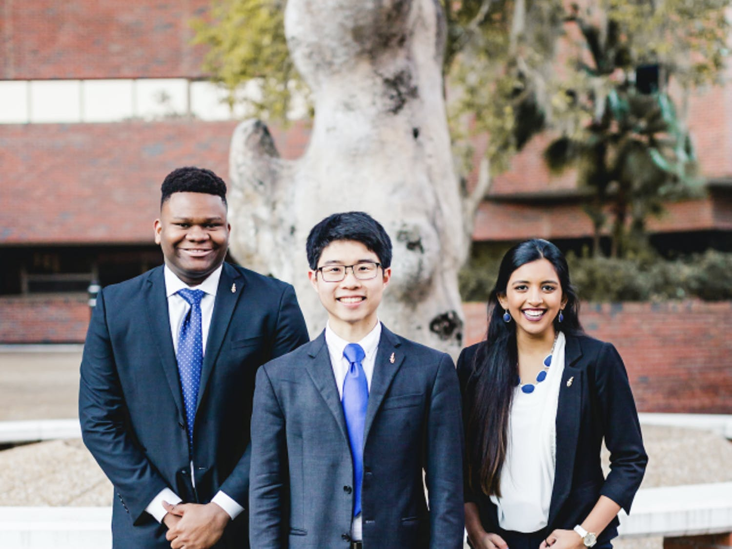 The UF Inspire Party announced its executive ticket with Zachariah Chou, 21, for Student Body president (center); Gouthami Gadamsetty, 20, for Student Body vice president (right); and Mackintosh Joachim, 19, for Student Body treasurer (left). Courtesy to The Alligator