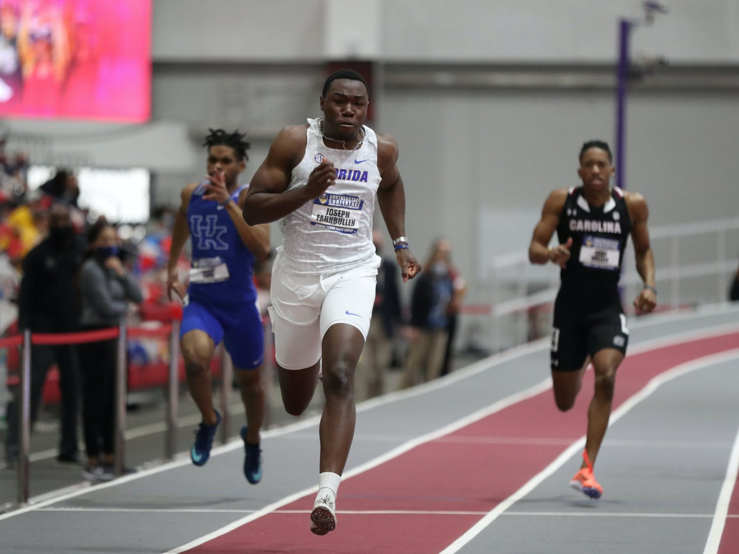 Florida's Joseph Fahnbulleh competes during the SEC Indoor Track and Field Championships on Saturday, February 27, 2021 at Randal Tyson Track Center in Fayetteville, Ark. / UAA Communications photo by Alex de la Osa