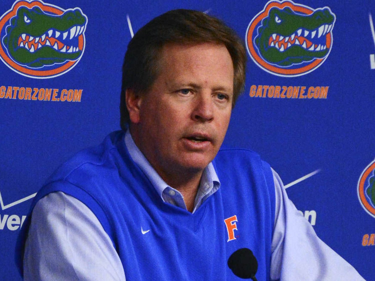 Florida coach Jim McElwain speaks about UF's 2015 recruiting class during a press conference on Feb. 4 in Ben Hill Griffin Stadium.