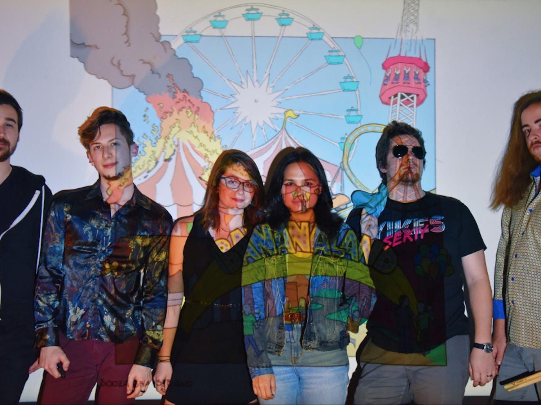 (L-R) Sooza Brass Band consists of Brian Burwell (trombone), Ryan Gamberino (saxophone),Adrienne Widener (trumpet), Bianca Maesa (sousaphone), Ben Elgan (trumpet) andAustin DiVito (drums). The band released their debut album, Bananaland, in December.