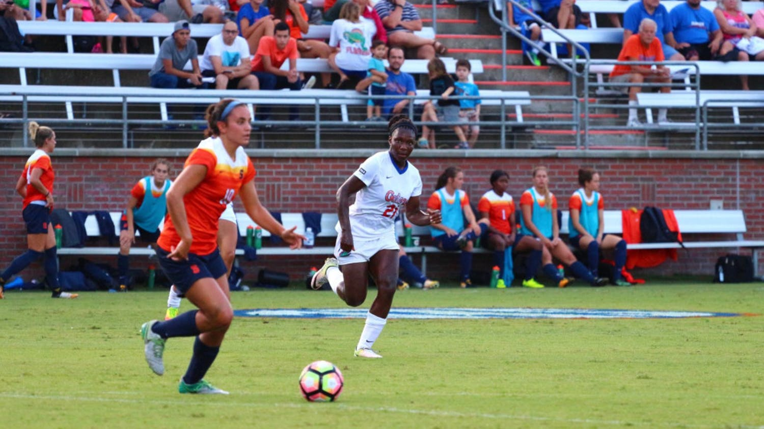 Deanne Rose chases a Syracuse player with possession of the ball during Florida's 2-1 win against the Orange on Aug. 27 at Donald R. Dizney Stadium.