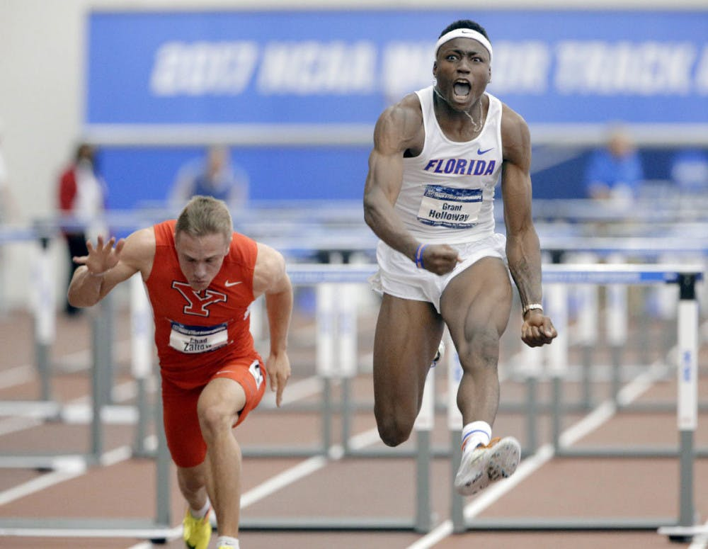 """<p dir=""""ltr""""><span>Florida sprinter, jumper and hurdler Grant Holloway finished first in both the 60-meter hurdles and the 200-meter sprint. His time of 7.49 seconds in the hurdles was the fifth fastest in collegiate history.</span></p> <p><span>&nbsp;</span></p>"""