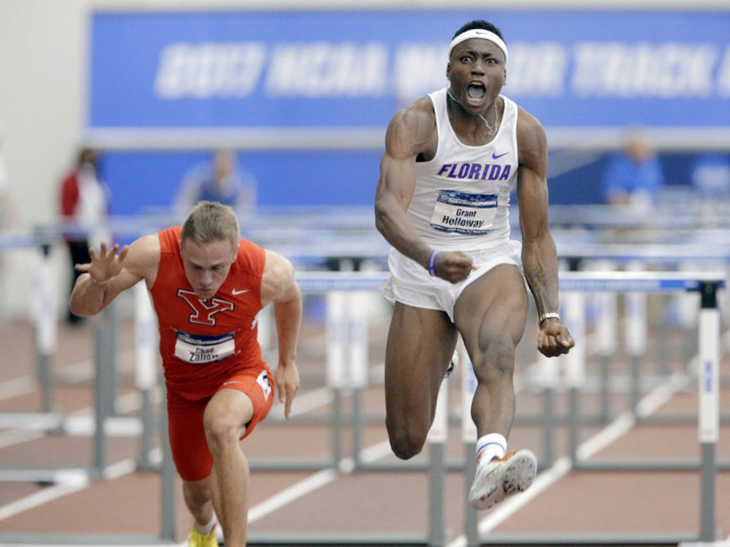 Florida sprinter, jumper and hurdler Grant Holloway finished first in both the 60-meter hurdles and the 200-meter sprint. His time of 7.49 seconds in the hurdles was the fifth fastest in collegiate history.