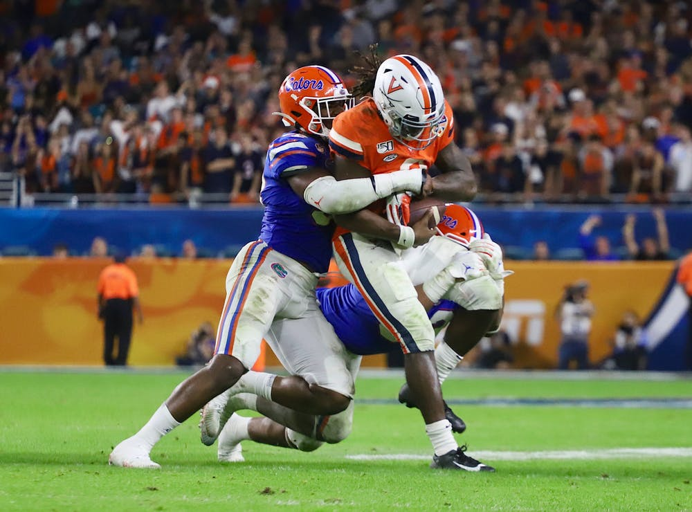 McGriff's experience coaching in the defensive backfield will be welcomed as the Gator defense allowed 257 yards per game through the air last season. Photo from UF-Virginia game in December 2019.